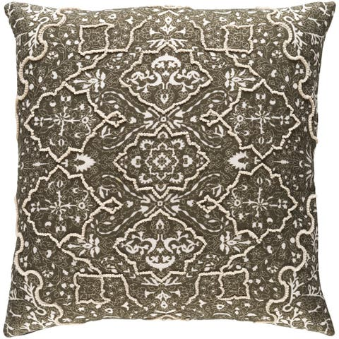Decorative Saintes Dark Olive 18-inch Throw Pillow Cover