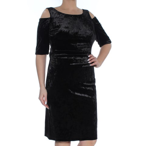 CONNECTED Womens Black Cold Shoulder Velvet 3/4 Sleeve Scoop Neck Knee Length Shift Cocktail Dress Size: 12