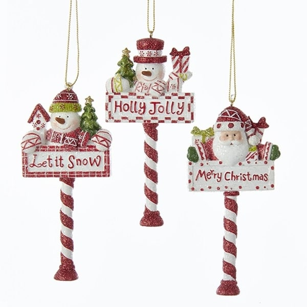 pack of 12 red and white glittered santa claus snowman north pole christmas ornaments