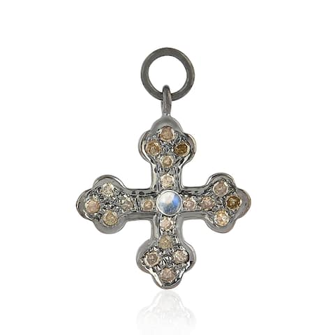Artisan 925 Sterling Silver Diamond Cross Charms Moonstone Mythological Jewelry