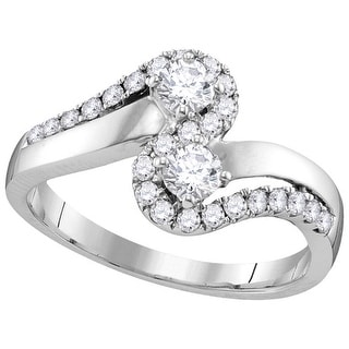 3/4Ctw Diamond Bridal Engagement Ring 10K White-Gold