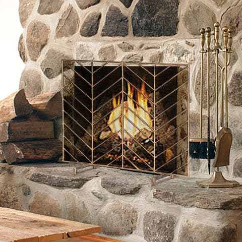 Single Screen Vintage,Living Room Decoration Iron Fireplace Screen