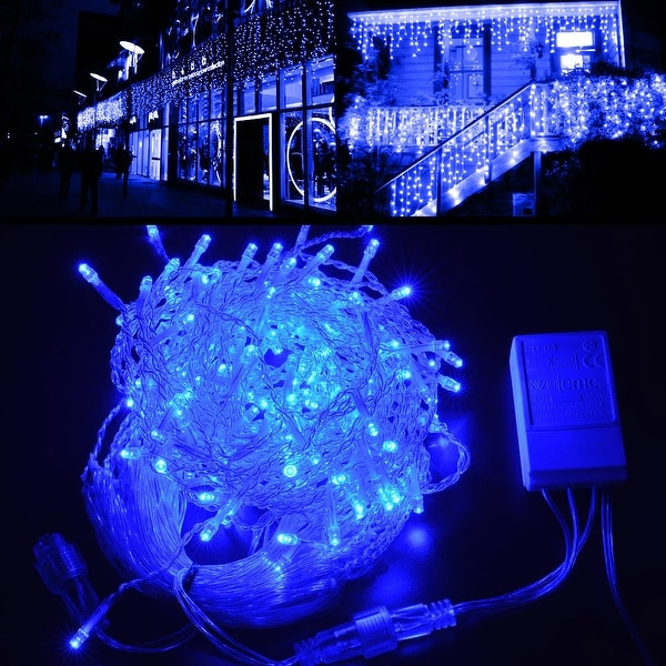 Image 2ft*16.4ft LED Curtain Icicle Lights String Connectable Christmas Blue