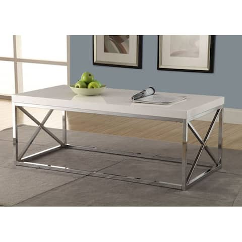 Offex Glossy White / Chrome Metal Cocktail Table