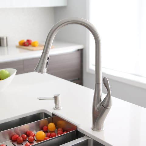 """Single Handle Pull Down Kitchen Faucet in Brushed Nickel - Faucet Height: 18 1/2"""" Spout Height: 9 1/2"""""""