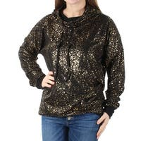 Womens Black Long Sleeve Jewel Neck Casual Sweater  Size  M