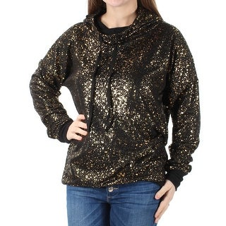 MATERIAL GIRL Womens 1017 Black Speckle Tie Hooded Sweater M Juniors B+B