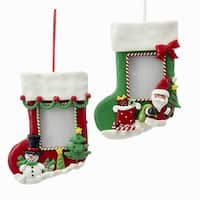Club Pack of 12 Red and Green Stocking Picture Frame Ornaments 8""