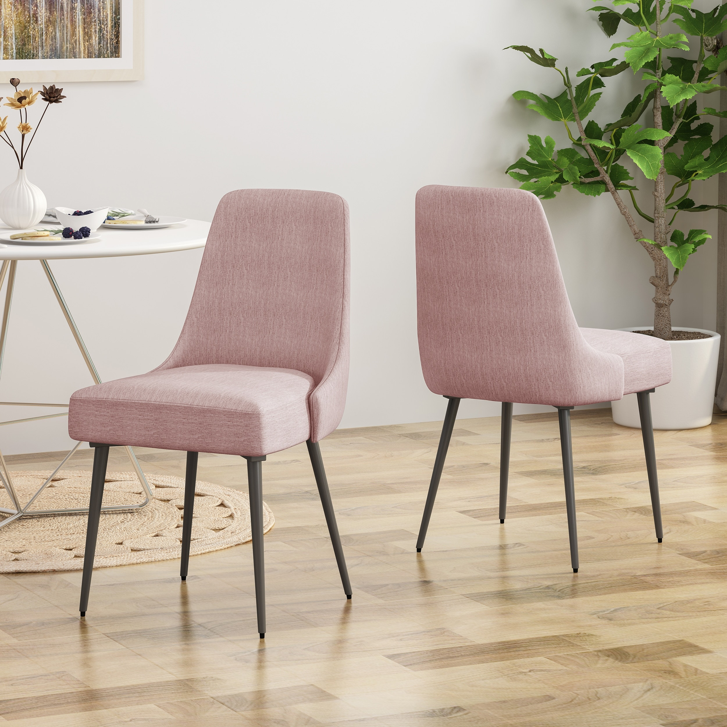 Alnoor Modern Armless Fabric Dining Chairs Set Of 2 By Christopher Knight Home N A On Sale Overstock 26474486 Light Blush Gun Metal