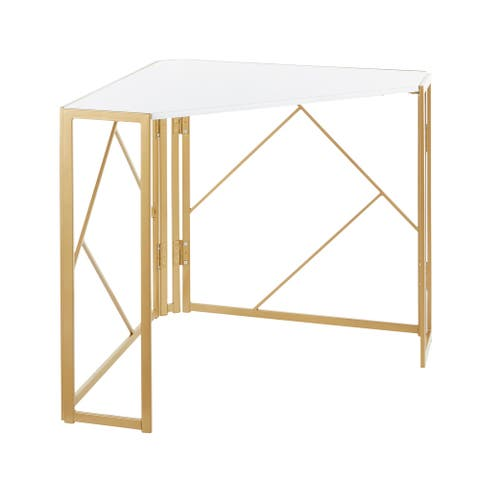 Silver Orchid Sala Corner Desk in Gold Metal & White Wood