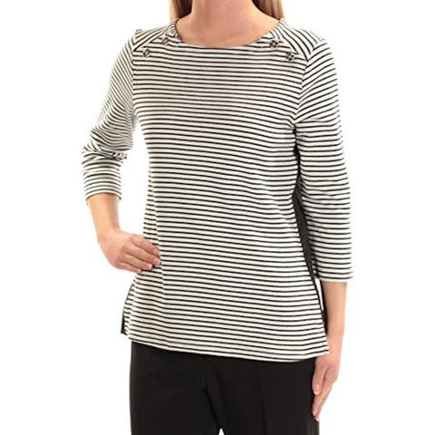 TOMMY HILFIGER Womens Ivory Striped 3/4 Sleeve Top Size XL