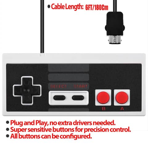 "AGPtek Gamepad Controller for Nintendo NES Classic Mini Edition and 2pcs 3m/9.8ft Extension Cables - Black - 7'6"" x 9'6"""