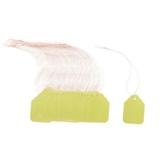Garden Plastic Rectangle Shaped Plant Hang Tag Label Green Yellow 5 x 7cm 100pcs