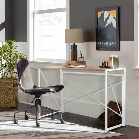 NOVA FURNITURE Folding Home Office Computer Desk, Writing Desk with Natural Desktop