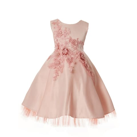Rain Kids Little Girls Blush 3D Flower Applique Special Occasion Dress