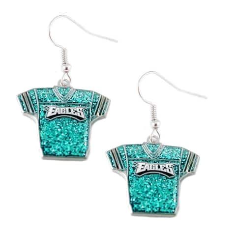 NFL Philadelphia Eagles Glitter Jerseys Sparkle Dangle logo Earring Set Charm Gift - 3/4 inch round