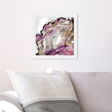 Oliver Gal 'Glitter Bang I' Abstract Wall Art Framed Print Watercolor - Purple, Gold