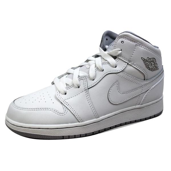 buy online 34e89 8e217 Nike Grade-School Air Jordan I 1 Mid BG White White-Wolf Grey