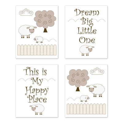 Little Lamb Collection Wall Decor Art Prints (Set of 4) - Beige and White Farm Animal Sheep Gender Neutral