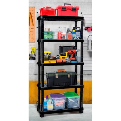 MQ 5-Shelf Plastic Adjustable Garage Shelving Unit in Black