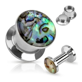 Shell Inlay Top Double Flared Screw Fit Plug 316L Surgical Steel (Sold Individually)