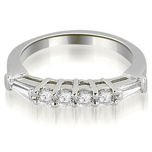 0.50 cttw. 14K White Gold Baguette and Round Diamond Wedding Band