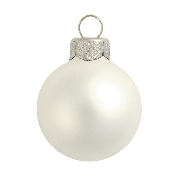 "40ct Matte Finish Silver Glass Ball Christmas Ornaments 1.25"" (30mm)"