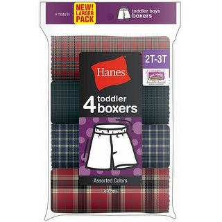 Hanes Toddler Boy's Tartan Boxer 4-Pack - Size - 4 - Color - Assorted