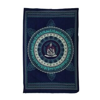 Buddha Meditating Inside Mandala Blue Cotton Tapestry 90 X 60 Inch