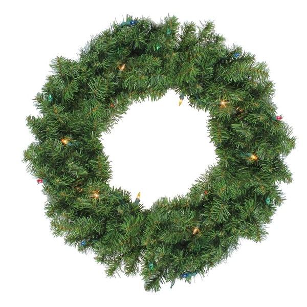 "24"" Pre-Lit Canadian Pine Artificial Christmas Wreath - Multi-Color Lights - green"