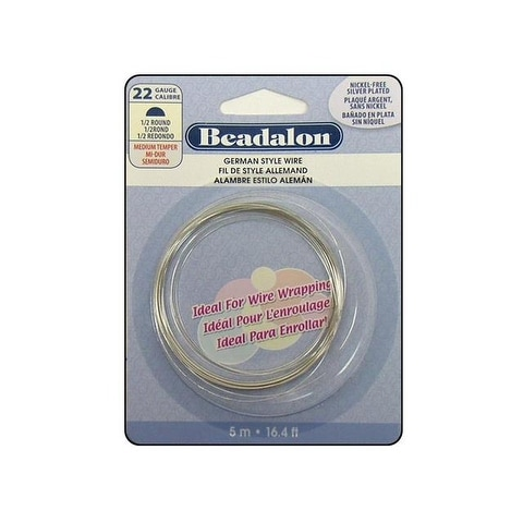 Beadalon German Style Wire Half Rnd 22ga SlvPlt 5M