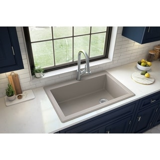 "Link to Karran Drop-In Quartz Composite 1-Hole Single Bowl Kitchen Sink - 33"" x 22"" x 9"" - 33"" x 22"" x 9"" Similar Items in Sinks"