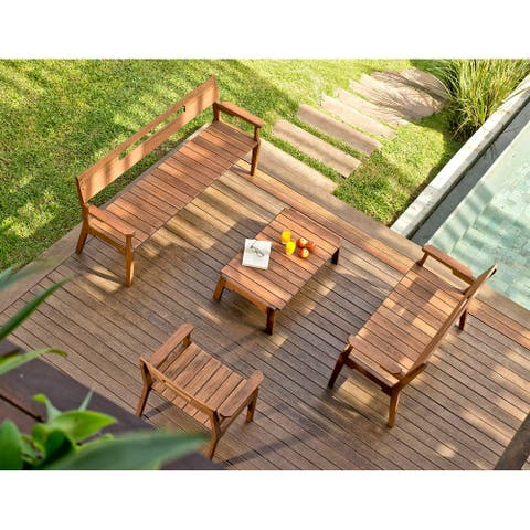 Marcelino 4-piece Eucalyptus Wood Outdoor Conversation Set by Havenside Home