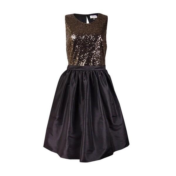 Calvin Klein Women's Sequined Sleeveless Taffeta Dress - Gold/Black