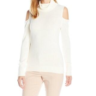 T Tahari White Women Size Large L Cold Shoulder Turtleneck Sweater