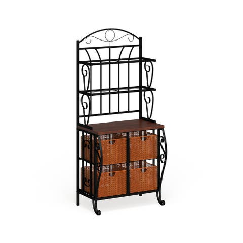 Copper Grove Stoyoma Iron and Wicker Bakers Rack
