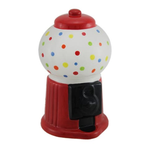 Colorful Polka Dot Ceramic Gumball Machine Coin Bank - 6.5 X 4 X 4 inches