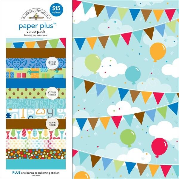 "Doodlebug Paper Plus Value Pack 12""X12"" 8/Pkg-Birthday Boy"