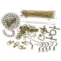 479962 Jewelry Basics Metal Findings 145-Pkg-Antique Gold Starter