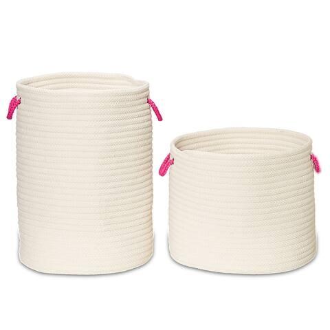 Marissa Woven Hamper Basket SET-2 for use anywhere 17Dx22H/19Dx15H