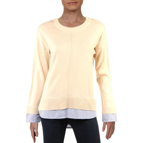 Chelsea & Theodore Womens Sweater Crew Neck Long Sleeve - Beige/Blue Stripe - S