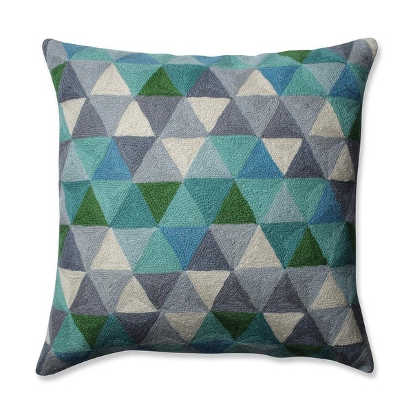 "16.5"" Cream White Smokey Gray and Turquoise Triangle Grid Pattern Square Throw Pillow"