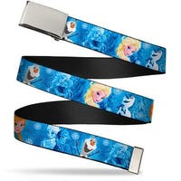 Blank Chrome  Buckle Frozen Character Poses Blues Webbing Web Belt