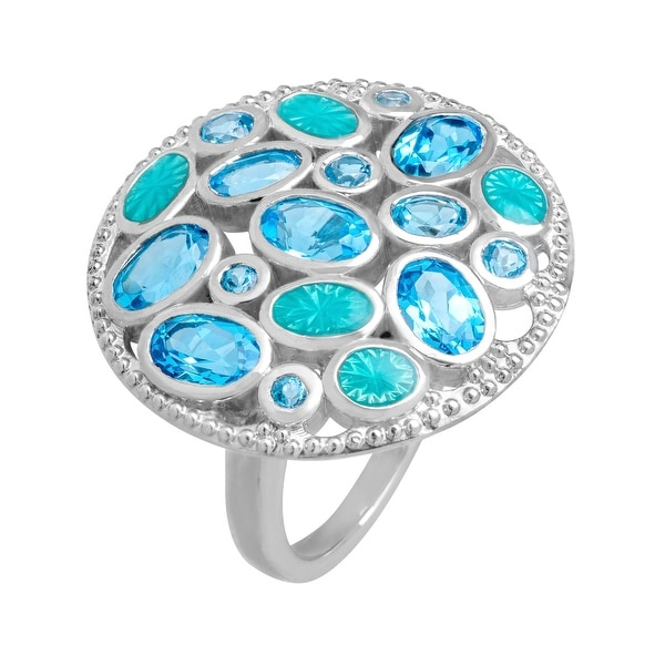 3 5/8 ct Swiss Blue Topaz Ring in Sterling Silver