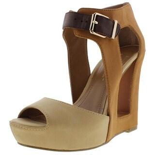 BCBGeneration Womens Nadya Faux Leather Cut-Out Open-Toe Heels - 5.5 medium (b,m)
