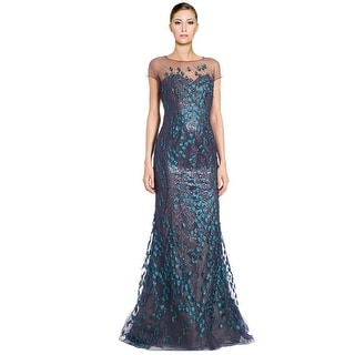 Rene Ruiz Embroidered Illusion Yoke Cap Sleeve Evening Gown Dress