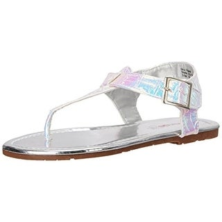 Kensie Girl Girls T-Strap Sandals Metallic Faux Leather