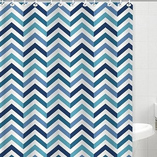 Bath Bliss Dobby Weave Shower Curtain Set, Sapphire Chevron Design, 70x72 Inches - N/A