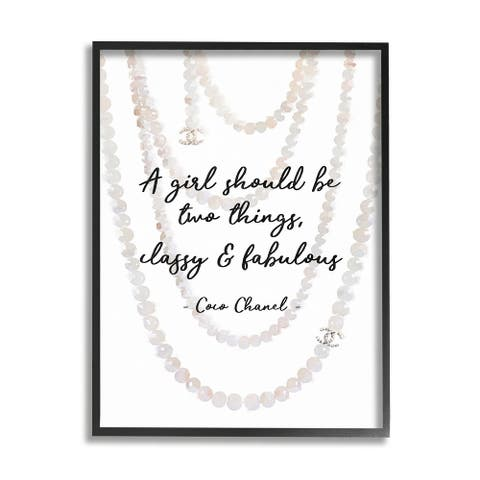 Silver Orchid Classy and Fabulous Fashion Quote with Pearls Framed Art - Multi-Color