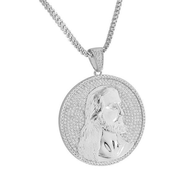 Jesus Face Round Pendant Iced Out Silver Tone Stainless Steel Box Necklace 24""